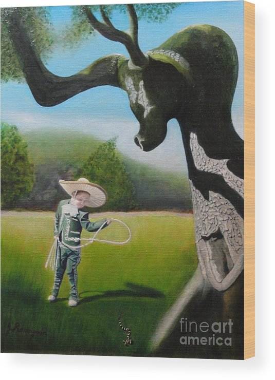 Child Wood Print featuring the painting Buckaroo by Juan Romagosa