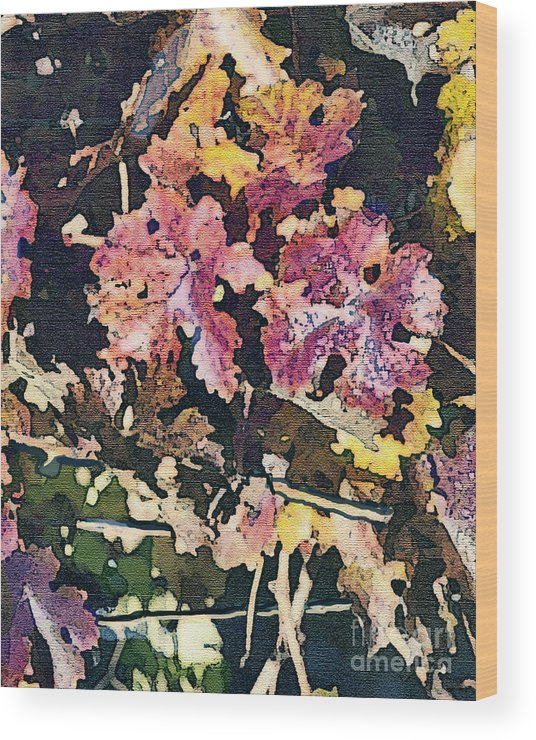 Corde Valle San Martin Ca Wood Print featuring the painting California Vineyard Series Fall Grape Leaves by Artist and Photographer Laura Wrede
