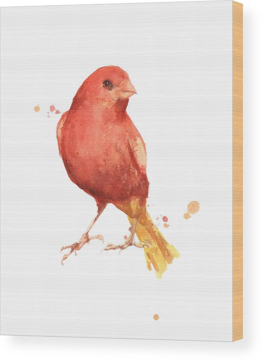 Canary Wood Print featuring the painting Canary Bird by Alison Fennell