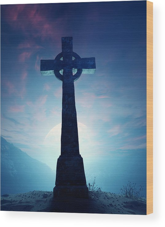 Cross Wood Print featuring the photograph Celtic Cross With Moon by Johan Swanepoel