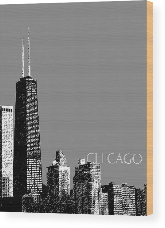 Architecture Wood Print featuring the digital art Chicago Hancock Building - Pewter by DB Artist