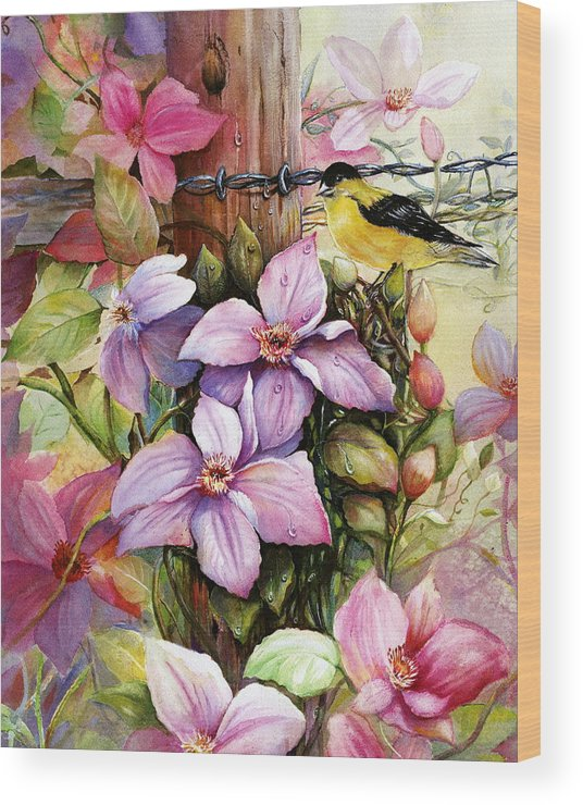 Flowers Wood Print featuring the painting Clematis Vine And Goldfinch by Patricia Schneider Mitchell