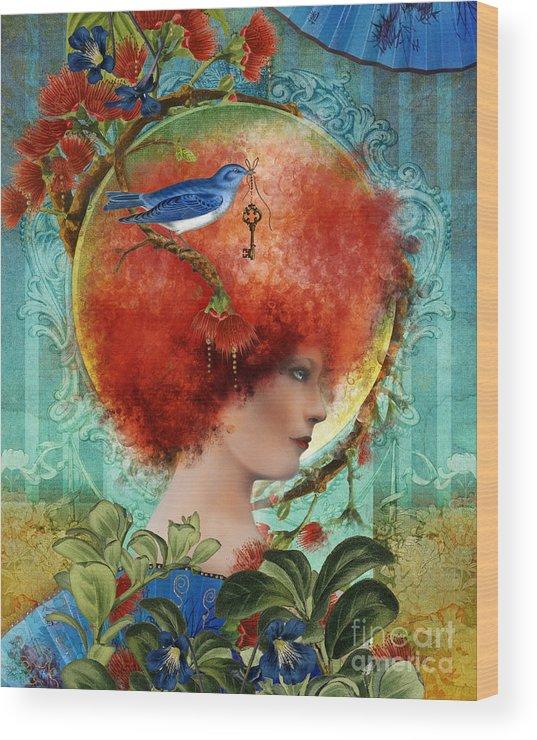 Portrait Wood Print featuring the digital art Cordelia by Aimee Stewart