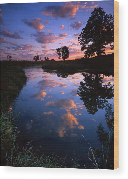 Sunset Wood Print featuring the photograph Cotton Ball Sunrise by Ray Mathis