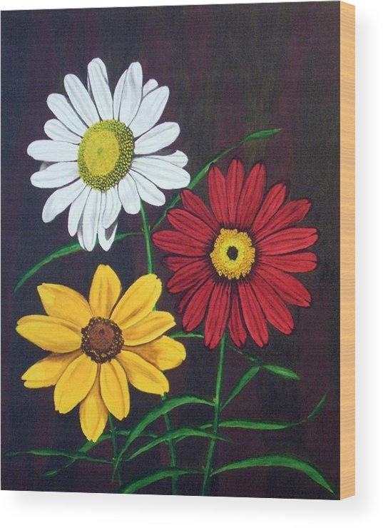 Daisy Flowers Wood Print featuring the painting Daisy Mae by Brandy House