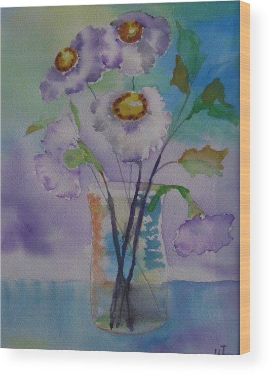 Floral Watercolor Wood Print featuring the painting Daisy by Warren Thompson