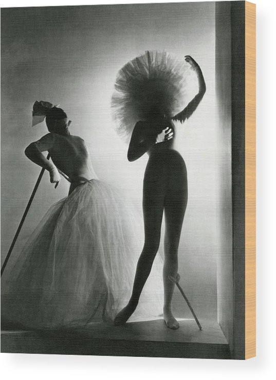 Costume Wood Print featuring the photograph Dancers Posing In Costumes From Salvador Dali's by Horst P. Horst