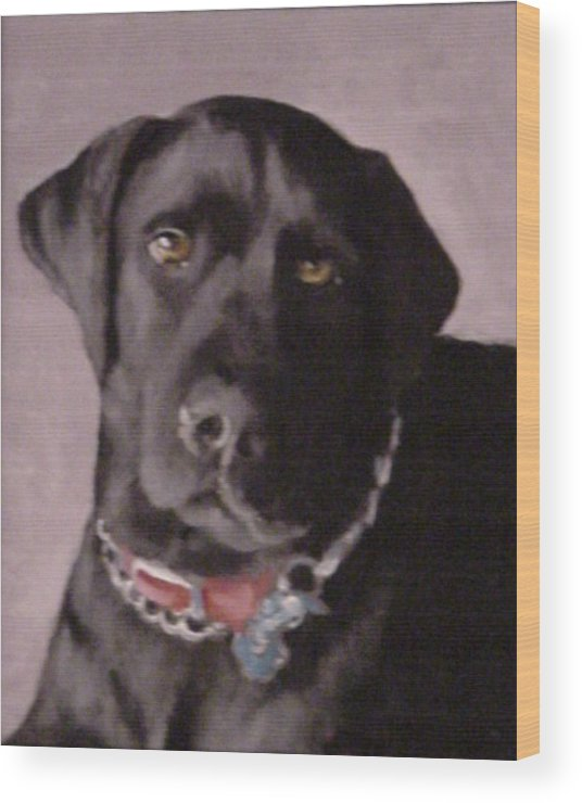 Dog Paintings Wood Print featuring the painting Definitely Hunter by David Zimmerman