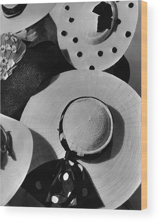 Patou Wood Print featuring the photograph Designer Cartwheel Hats by Horst P. Horst