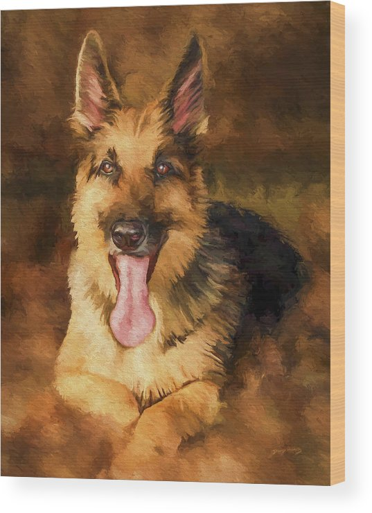 German Shepherd Wood Print featuring the painting Duke by David Wagner