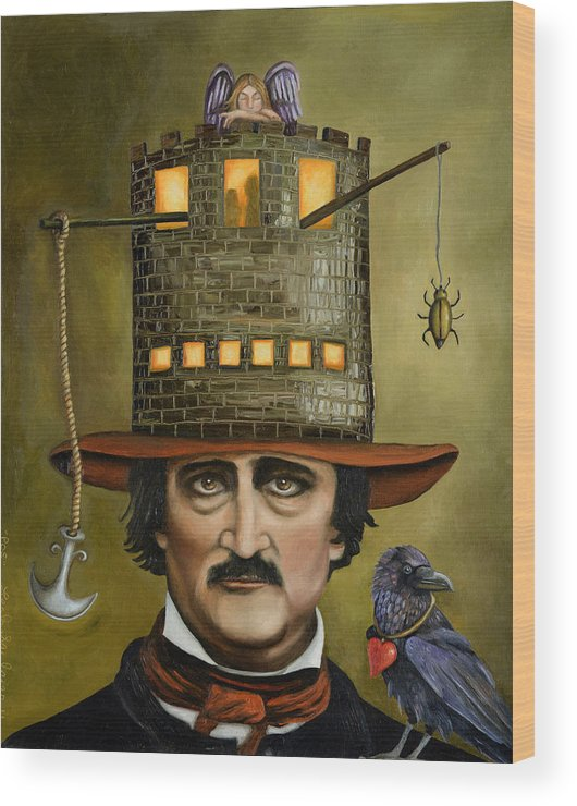 Edgar Allan Poe Wood Print featuring the painting Edgar Allan Poe Updated Image by Leah Saulnier The Painting Maniac