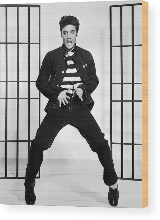 Elvis Presley Wood Print featuring the photograph Elvis Presley In Jailhouse Rock 1957 by Mountain Dreams