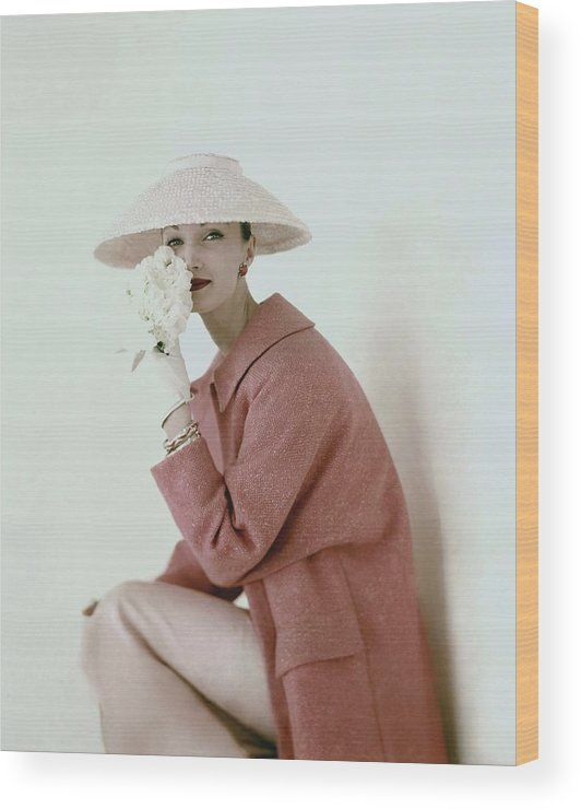Fashion Wood Print featuring the photograph Evelyn Tripp Wearing Pink by Karen Radkai