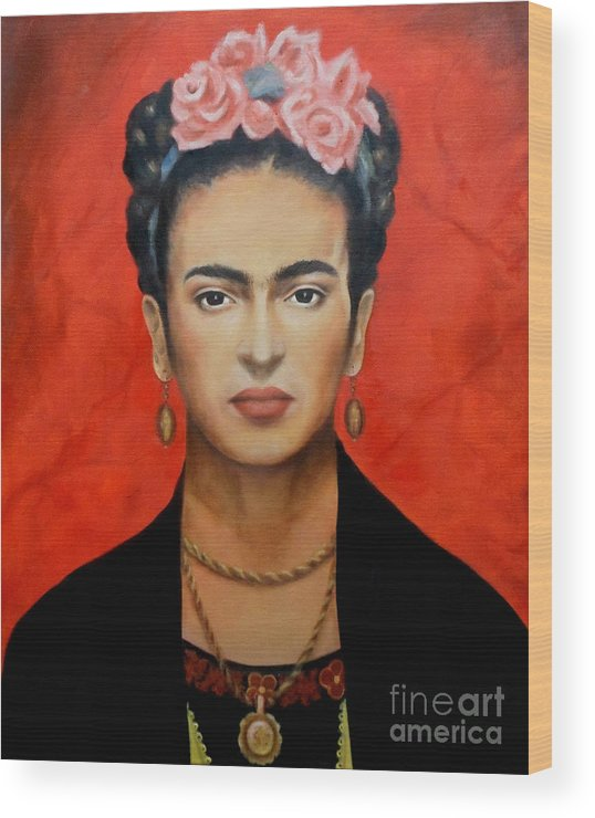 Frida Wood Print featuring the painting Frida Kahlo by Yelena Day