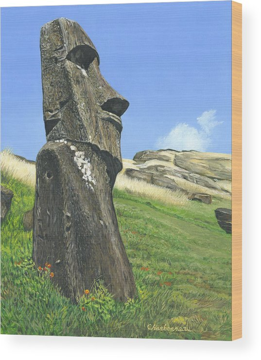 Easter Island Wood Print featuring the painting Gazing by Brent Charbonneau