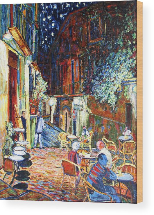 Impressionsist Spain Cafe Night Stars Van Gogh Wood Print featuring the painting Gerona by Rob White