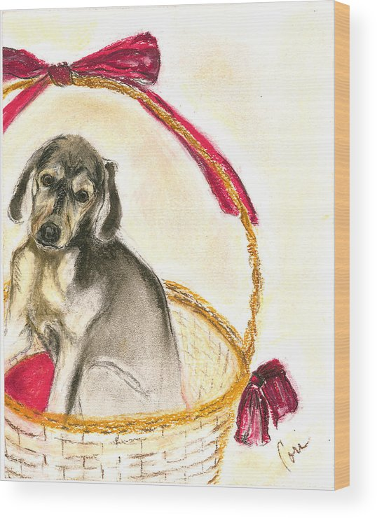 Dog Wood Print featuring the drawing Gift Basket by Cori Solomon