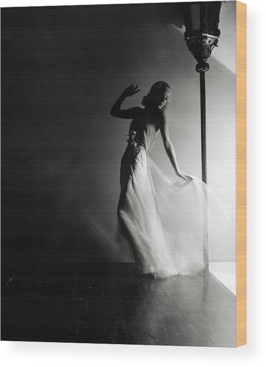 Dance Wood Print featuring the photograph Ginger Rogers Wearing An Evening Gown by Horst P. Horst