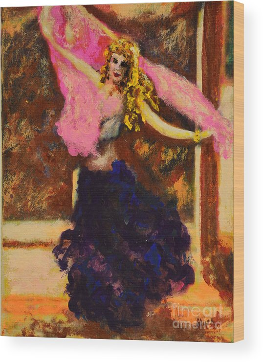 Gypsy Wood Print featuring the painting Gypsy Dancer by Alys Caviness-Gober