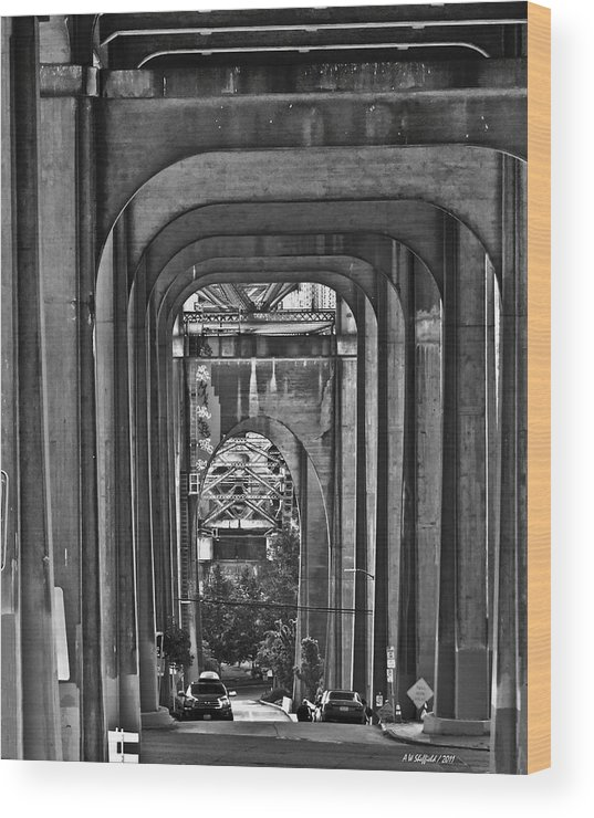 Seattle Wood Print featuring the photograph Hall Of Giants - Beneath The Aurora Bridge by Allen Sheffield