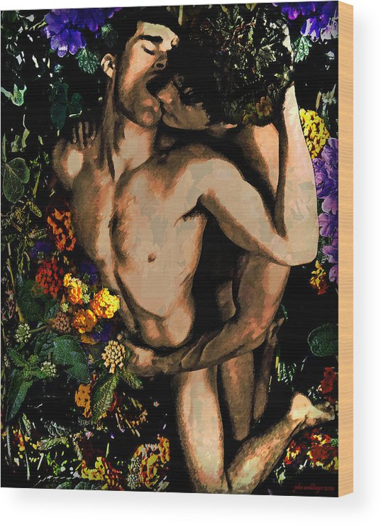 Queer Wood Print featuring the digital art Holding Your Flower - 2 by John Waiblinger