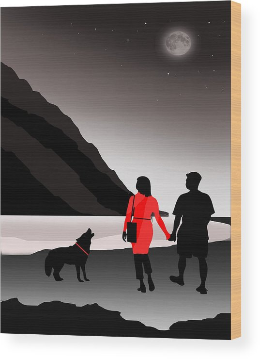 Moon Wood Print featuring the digital art Howling At The Moon by Peter Stevenson