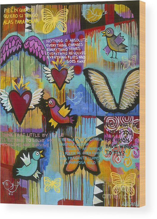 Wings Wood Print featuring the painting I Have Wings To Fly by Carla Bank