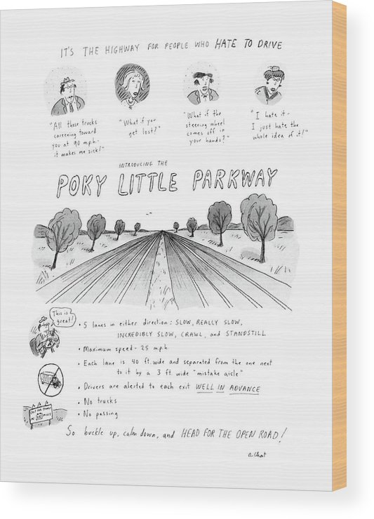 No Caption Poky Little Parkway: Cartoon Describes Maximum Speed On 10-lane Road Wood Print featuring the drawing It's The Highway For People Who Hate To Drive by Roz Chast