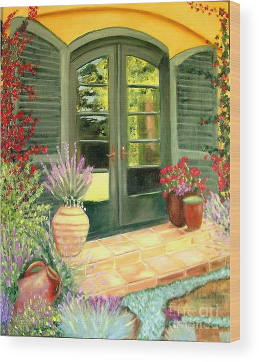 Shutters Wood Print featuring the painting Jill's Patio by Laurie Morgan