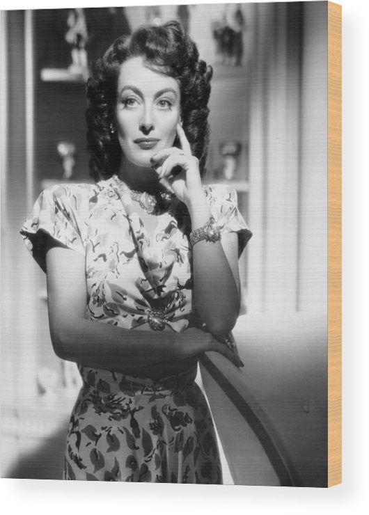 1940s Hairstyles Wood Print featuring the photograph Joan Crawford, Ca. 1946 by Everett