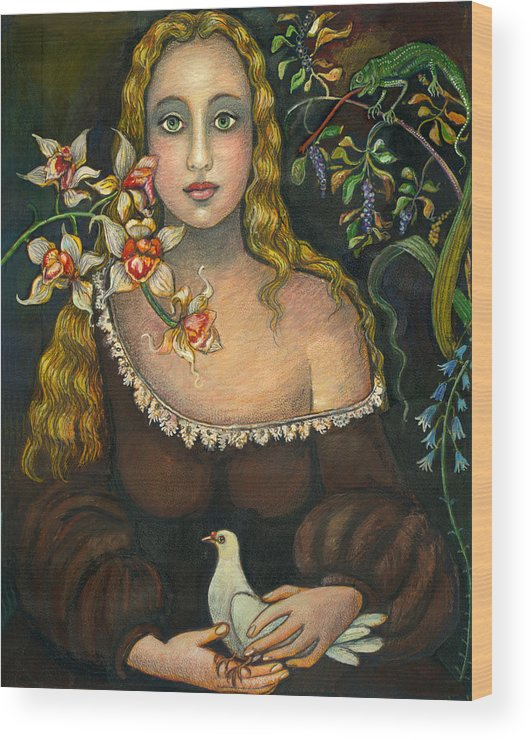 Figurative Wood Print featuring the painting Lady With Dove by Vera Zales