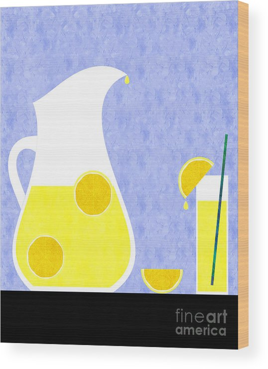 Lemonade Wood Print featuring the digital art Lemonade And Glass Blue by Andee Design