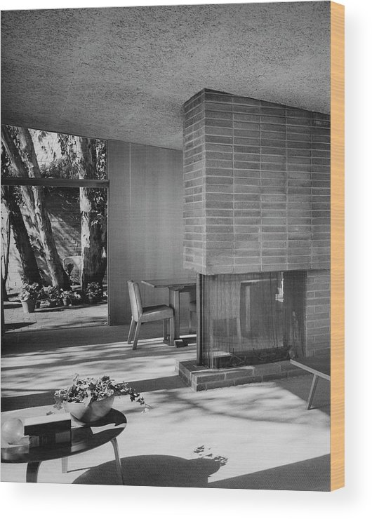 Architecture Wood Print featuring the photograph Living-dining Room By Carl Louis Maston by Julius Shulman