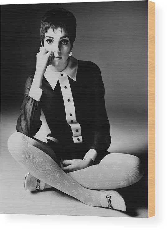 Personality Wood Print featuring the photograph Liza Minnelli Wearing A Joan Arkin Dress by Bert Stern