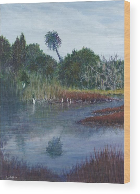 Landscape Wood Print featuring the painting Low Country Social by Ben Kiger