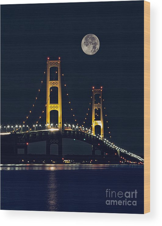 The Mackinaw Bridge Wood Print featuring the photograph Mackinac Bridge With Moonrise by Todd Bielby