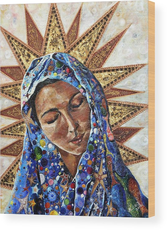 Madonna Wood Print featuring the painting Madonna Of The Dispossessed by Mary C Farrenkopf