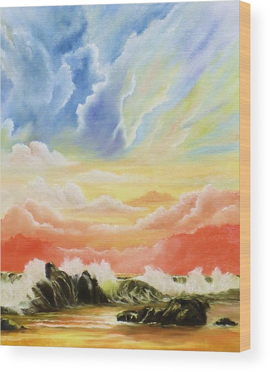 Clouds Wood Print featuring the painting Majestic Clouds by Janet Hufnagle