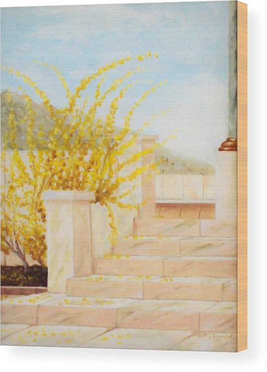 Landscape Wood Print featuring the painting Marble Steps by Scott Alcorn