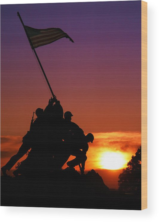 Marine Corps Memorial Wood Print featuring the photograph Marine Corps Memorial by Mitch Cat