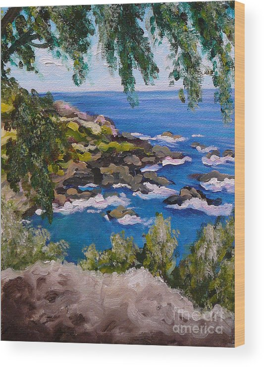 Maui Wood Print featuring the painting Maui Cliff by Gayle Utter