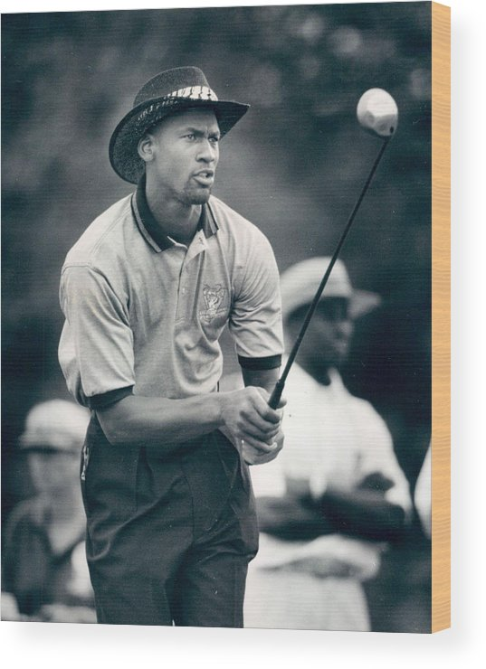 Classic Wood Print featuring the photograph Michael Jordan Looks At Golf Shot by Retro Images Archive
