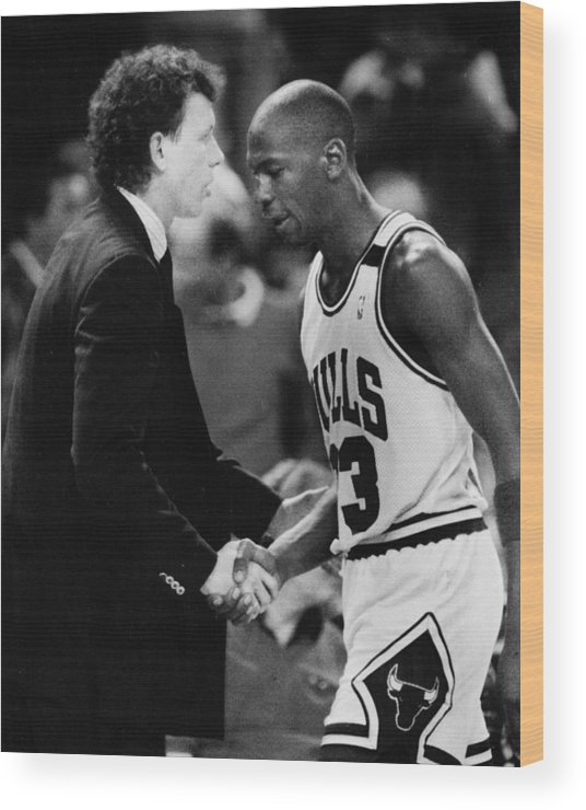 Classic Wood Print featuring the photograph Michael Jordan Talks With Coach by Retro Images Archive