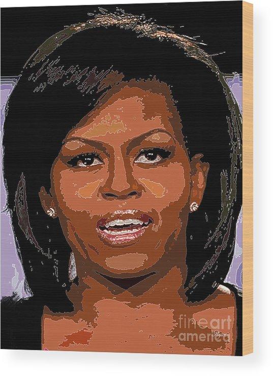 Star Wood Print featuring the digital art Michelle Obama by Dalon Ryan