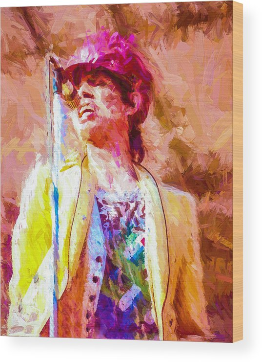 Rolling Stones Wood Print featuring the digital art Mick Jagger by Vivian Frerichs
