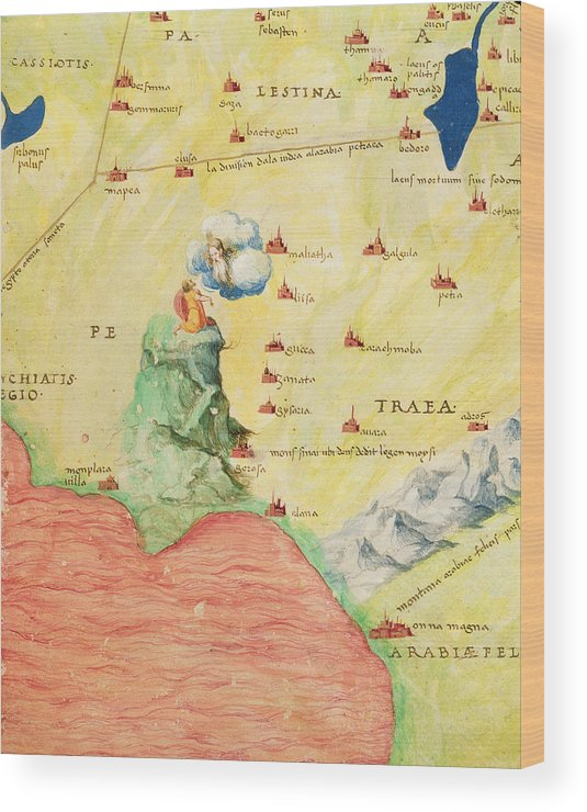 Mount Sinai And The Red Sea, From An Atlas Of The World In 33 Maps, Venice,  1st September 1553 Ink Wood Print