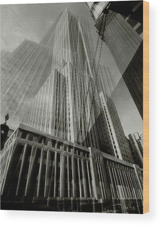 Architecture Wood Print featuring the photograph Multiple Exposure Of The Empire State Building by Edward Steichen