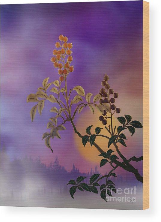 Nature Wood Print featuring the digital art Nandina The Beautiful by Peter Awax