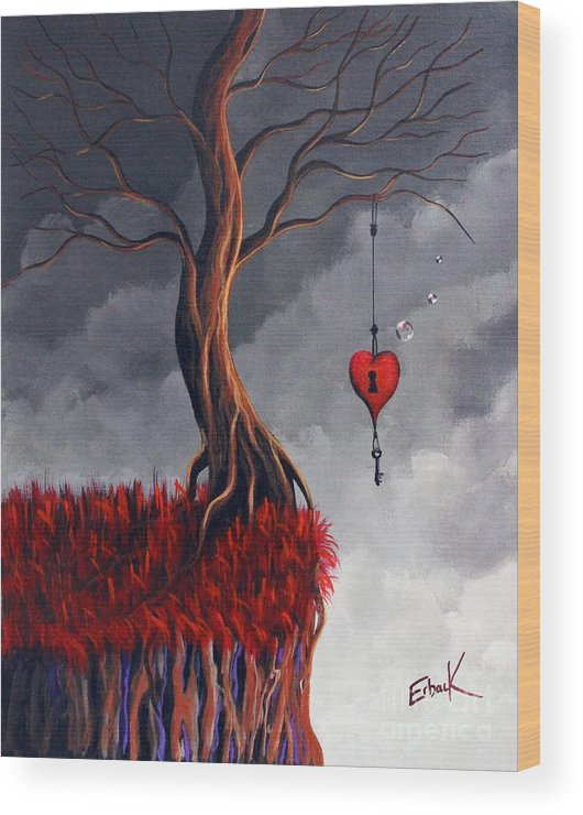 Surreal Wood Print featuring the painting Never Letting Go by Erback Art