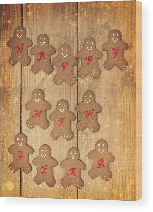 Gingerbread Wood Print featuring the photograph New Year Gingerbread by Amanda Elwell